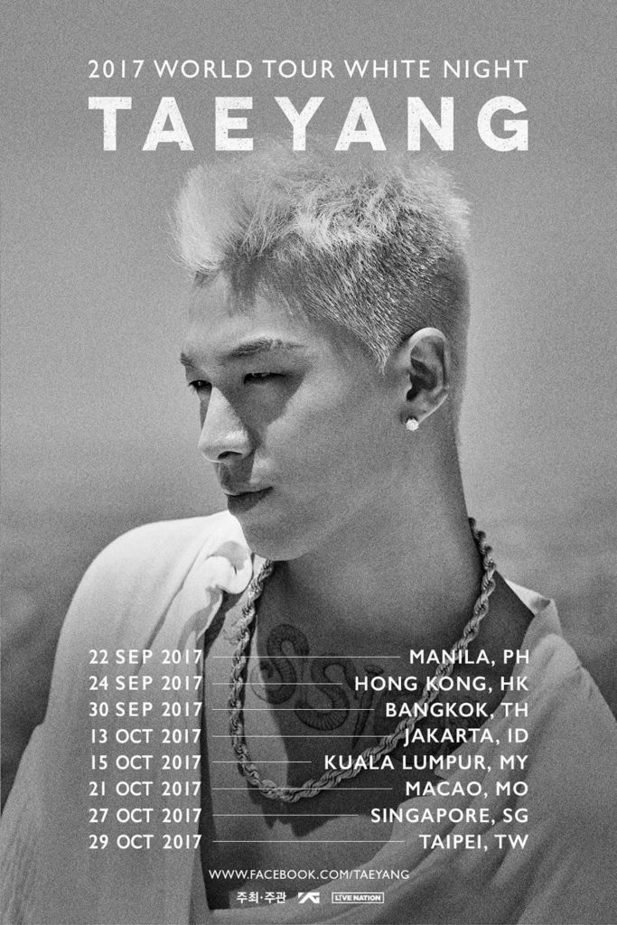 Taeyang World Tour 2020 Taeyang Released New World Tour Dates For Asia Including Singapore